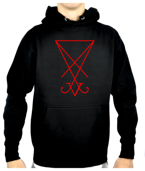 Red Sigil Of Lucifer Pullover Hoodie Sweatshirt