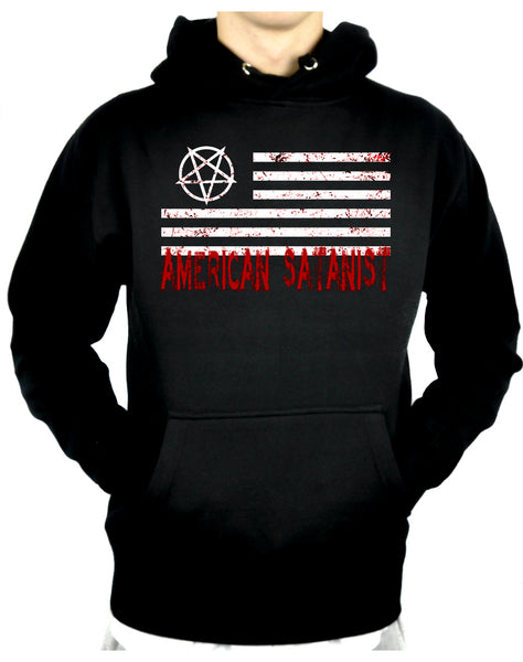 Satanist Bloody Flag Pentagram Pullover Hoodie Sweatshirt Hail Satan Occult Clothing