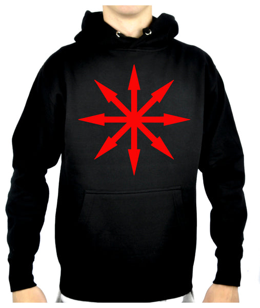 Red Eight Pointed Arrow Chaos Star Pullover Hoodie Sweatshirt