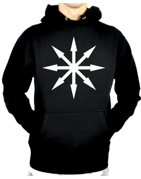 White Eight Pointed Arrow Chaos Star Pullover Hoodie Sweatshirt