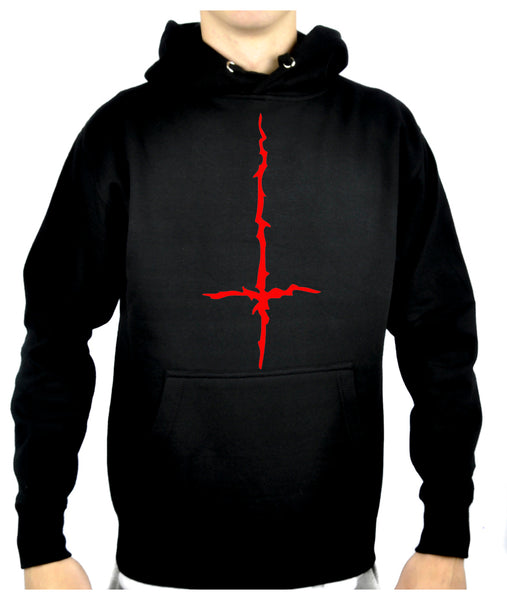 Red Thorn Jagged Inverted Cross Pullover Hoodie Sweatshirt