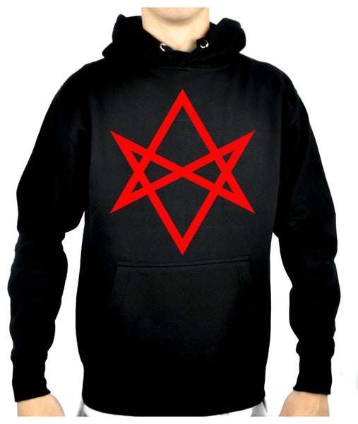 Red Unicursal Hexagram Six Pointed Star Pullover Hoodie Sweatshirt