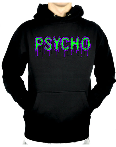 PSYCHO Purple & Green Drip Melting Pullover Hoodie Sweatshirt