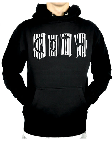 Black & White Vertical Stripe GOTH Pullover Hoodie Sweatshirt