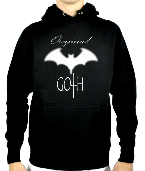 Original Goth with Blurred Bat Pullover Hoodie Sweatshirt Gothic Clothing
