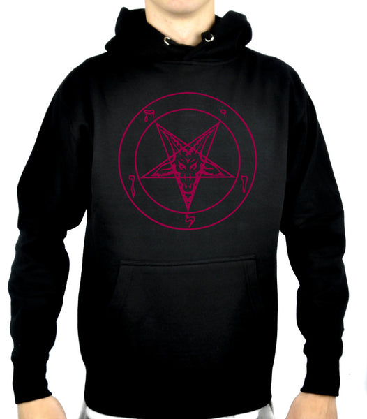 Red Print Classic Sigil of Baphomet Pullover Hoodie Sweatshirt Occult Clothing