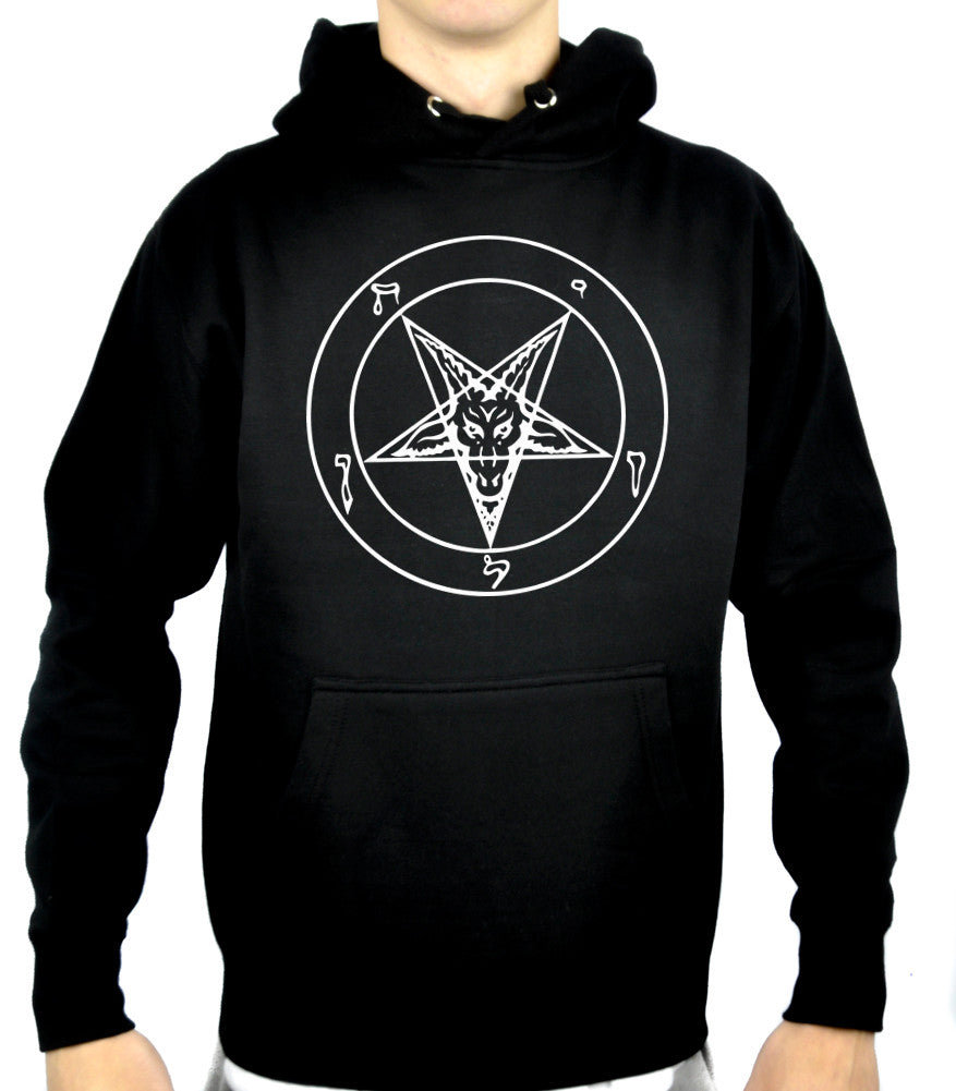 White Print Classic Sigil of Baphomet Pullover Hoodie Sweatshirt Occult Clothing