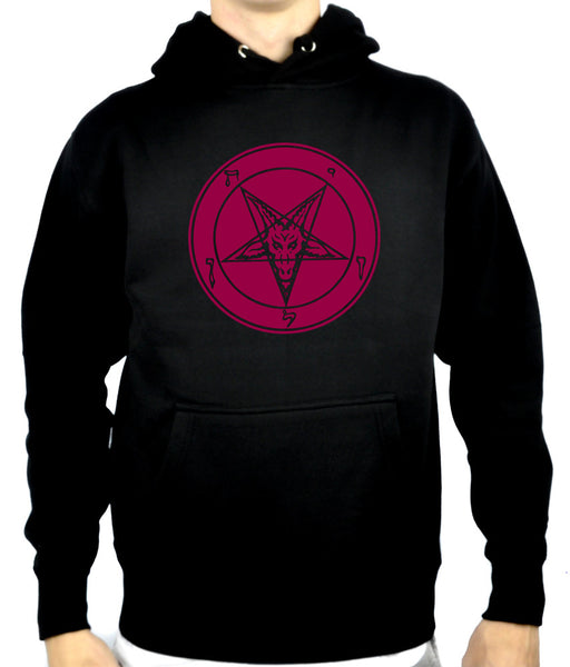 Solid Red Inverted Pentagram Baphomet Pullover Hoodie Sweatshirt Occult Clothing