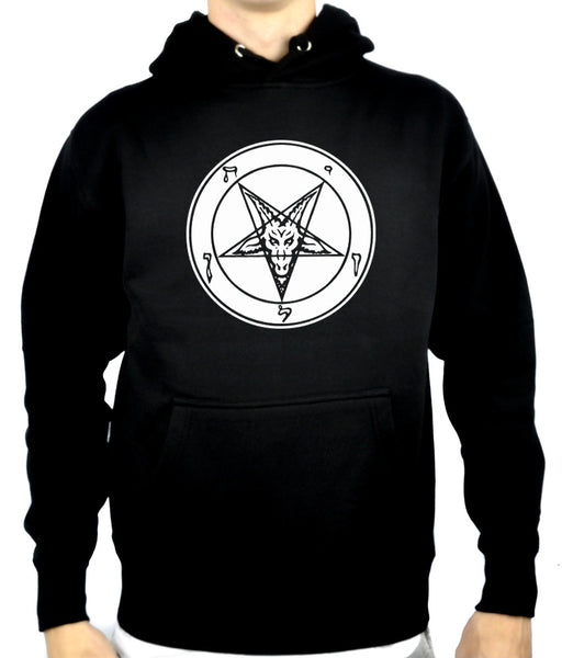 Solid White Inverted Pentagram Baphomet Pullover Hoodie Sweatshirt Occult Clothing