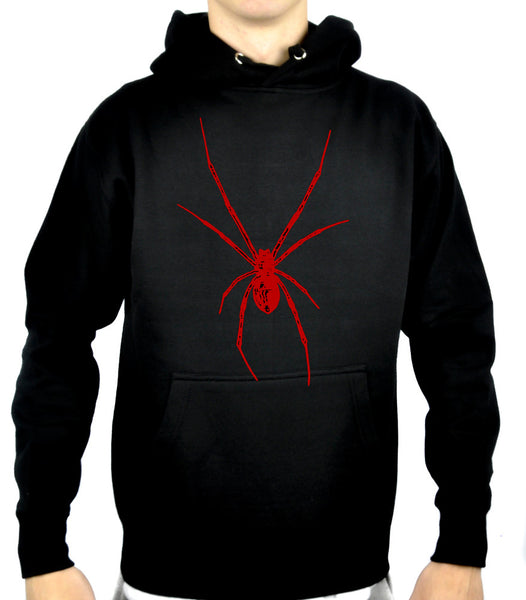 Red Print Black Widow Spider Pullover Hoodie Sweatshirt Halloween Clothing