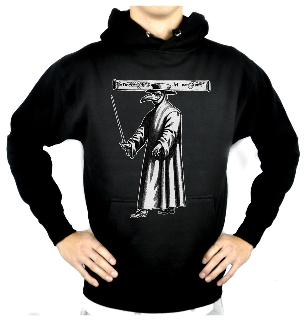 Black Death Plague Doctor Pullover Hoodie Sweatshirt with Bird Mask