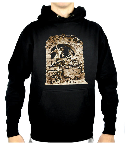 Diableries Devil Hell Scene Pullover Hoodie Sweatshirt Skeletons in Cauldron