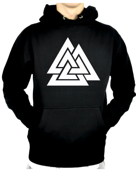 Norse Triangle Knot Pullover Hoodie Sweatshirt The Valknut Odin's Slain Warriors