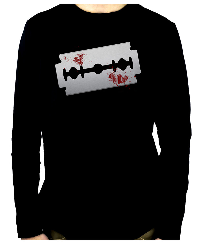 Bloody Razor Blade Men's Long Sleeve T-Shirt Suicide Prevention Awareness
