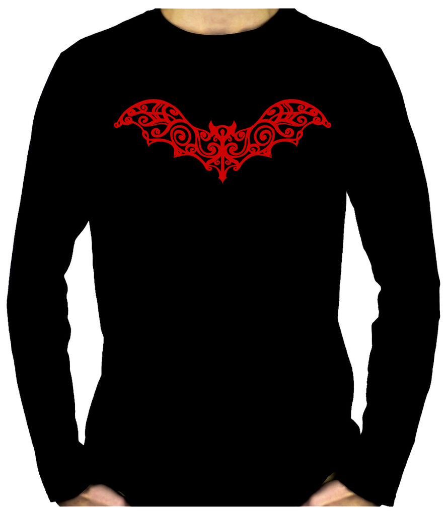 Wrought Iron Red Vampire Bat Men's Long Sleeve T-Shirt Gothic Clothing