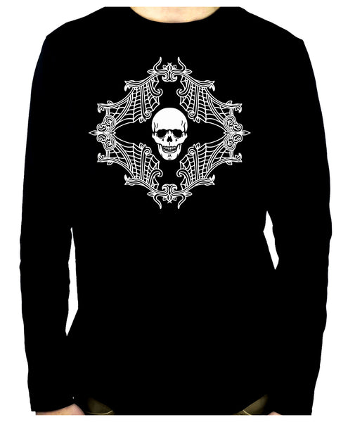 Skull w/ Spiderweb Cameo Men's Long Sleeve T-Shirt Gothic Clothing