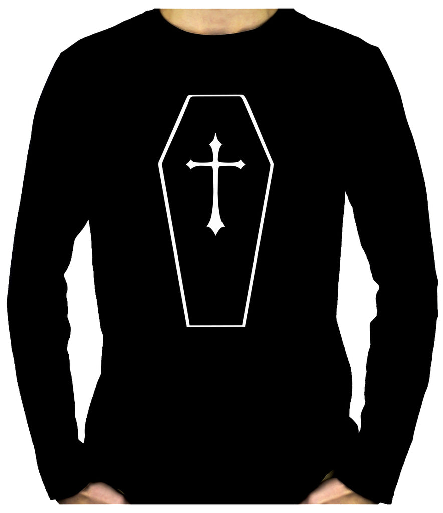 Toe Pincher Coffin w/ Cross Men's Long Sleeve T-Shirt Gothic Clothing