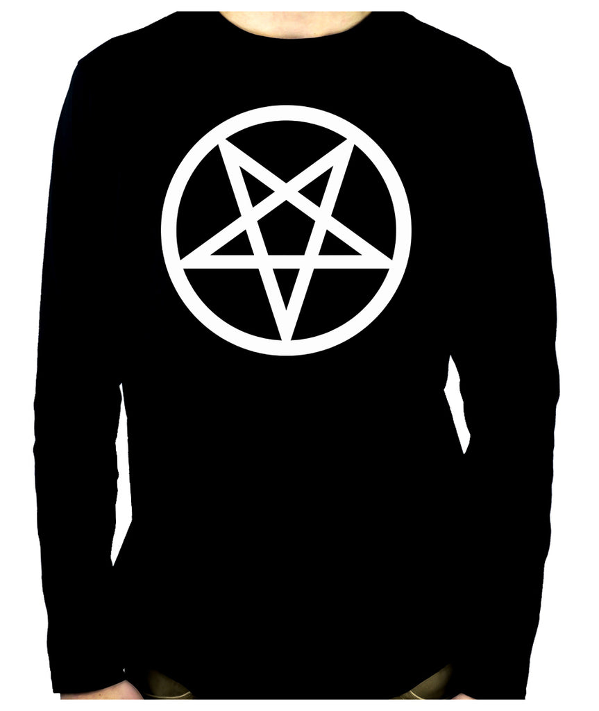 White Inverted Pentagram Men's Long Sleeve T-Shirt Occult Clothing