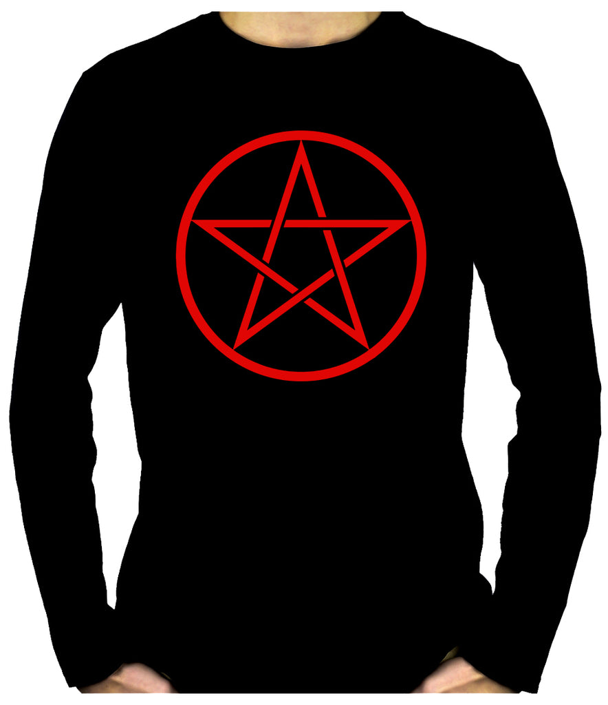 Red Woven Pentacle Men's Long Sleeve T-Shirt Occult Clothing