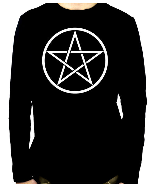 White Woven Pentacle Men's Long Sleeve T-Shirt Occult Clothing