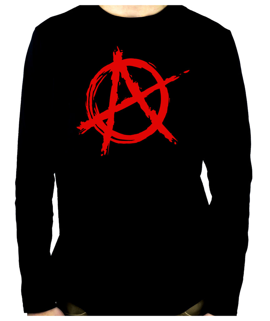 Red Anarchy Punk Rock Men's Long Sleeve T-Shirt Gothic Clothing