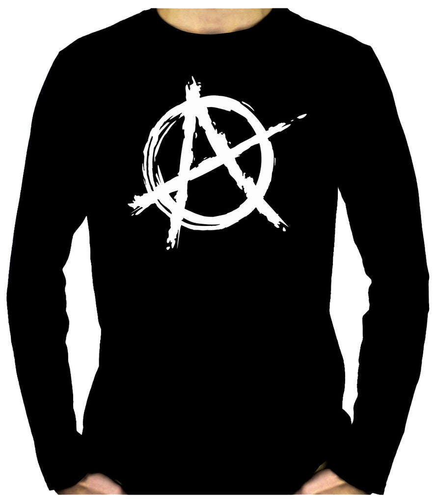 White Anarchy Punk Rock Men's Long Sleeve T-Shirt Gothic Clothing