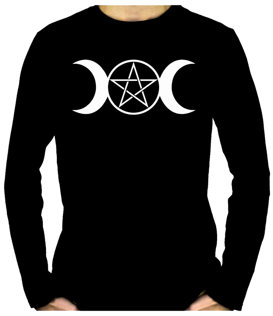 White Triple Moon Goddess Pentagram Men's Long Sleeve T-Shirt Occult Clothing