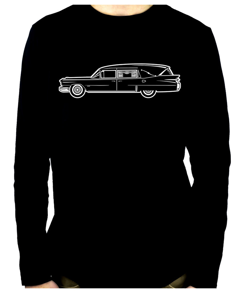 Hearse Funeral Car Men's Long Sleeve T-Shirt Gothic Clothing