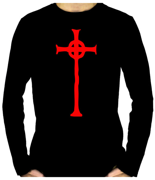 Red Vampire Hunter Celtic Cross Tombstone Long Sleeve T-Shirt Occult Clothing
