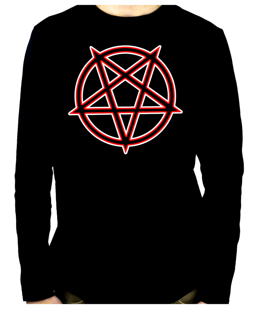 Unholy Inverted Ritual Pentagram Symbol Long Sleeve T-Shirt Occult Metal Clothing