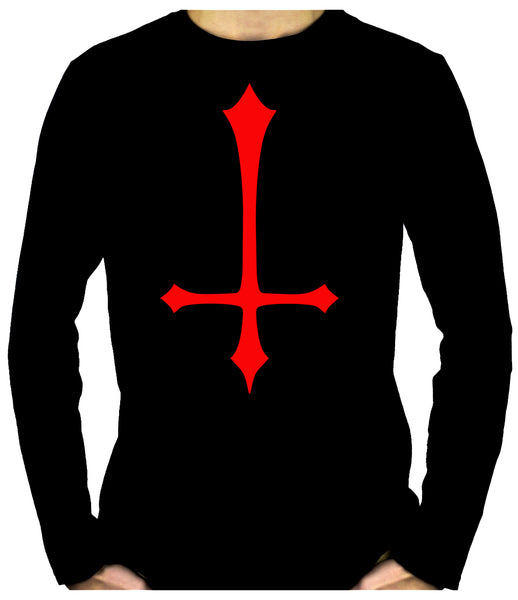 Red Unholy Inverted Medieval Cross Long Sleeve T-Shirt Occult Clothing