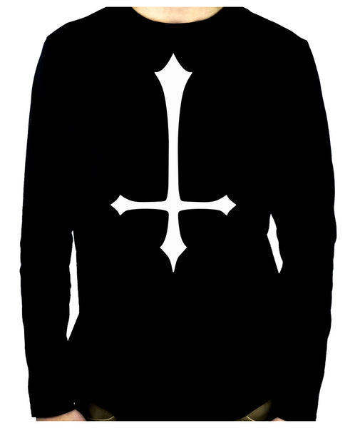 White Unholy Inverted Medieval Cross Long Sleeve T-Shirt Occult Clothing