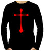 Red Medieval Holy Cross Long Sleeve T-Shirt Occult Clothing