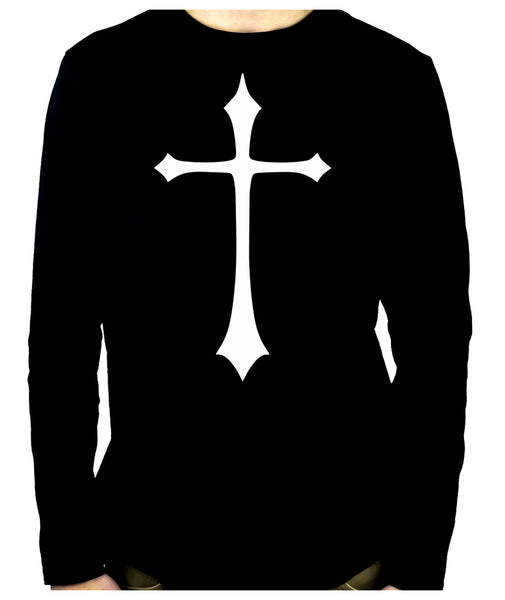 White Medieval Holy Cross Long Sleeve T-Shirt Occult Clothing