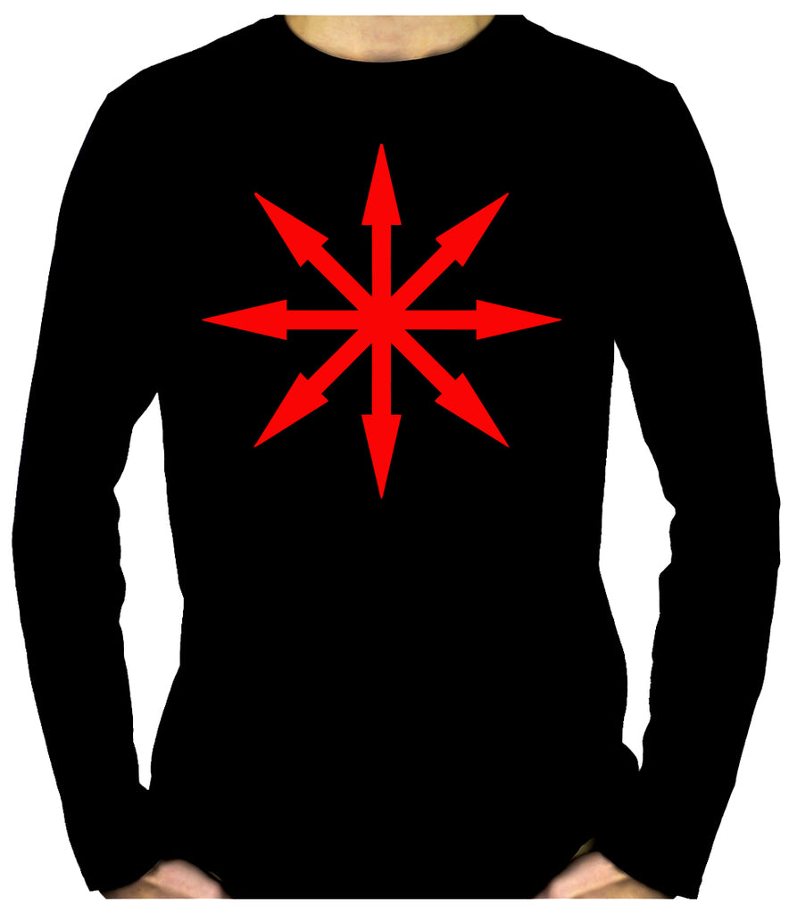 Red Eight Pointed Arrow Chaos Star Long Sleeve T-Shirt Occult Clothing