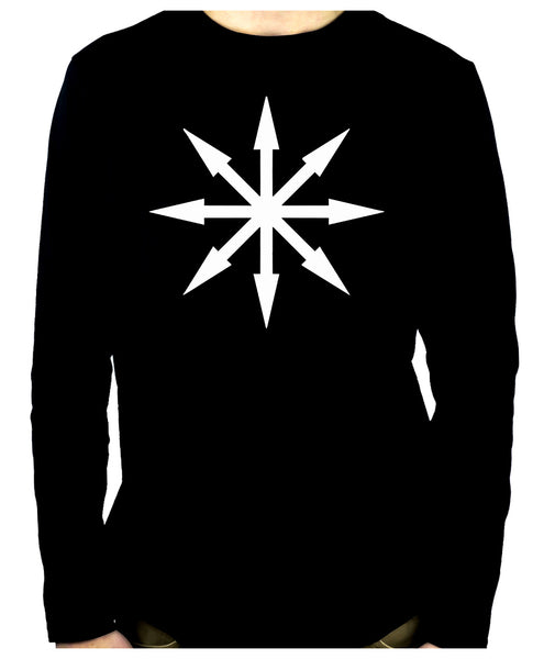 White Eight Pointed Arrow Chaos Star Long Sleeve T-Shirt Occult Clothing