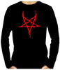 Red Thorn Jagged Inverted Pentagram Long Sleeve T-Shirt Occult Metal Clothing
