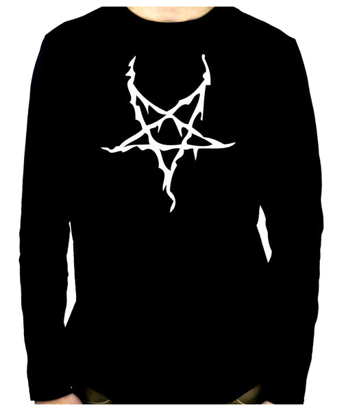 White Thorn Jagged Inverted Pentagram Long Sleeve T-Shirt Occult Metal Clothing