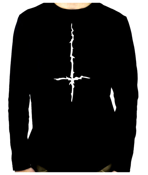 White Thorn Jagged Inverted Cross Long Sleeve T-Shirt Occult Metal Clothing