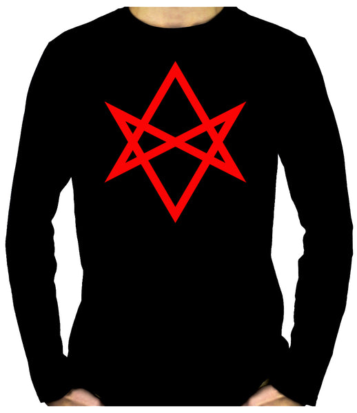 Red Unicursal Hexagram Six Pointed Star Long Sleeve T-Shirt Occult Clothing
