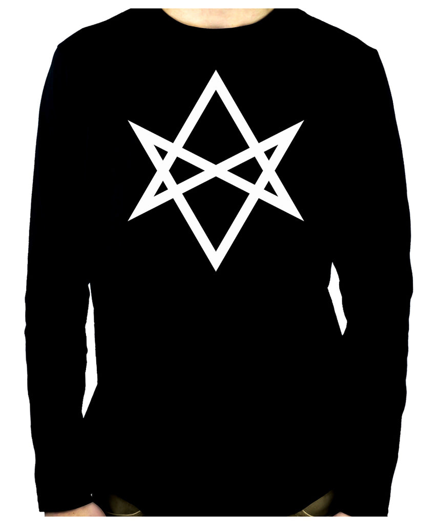 White Unicursal Hexagram Six Pointed Star Long Sleeve T-Shirt Occult Clothing