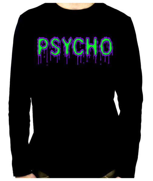 PSYCHO Purple & Green Drip Melting Long Sleeve T-Shirt Occult Clothing