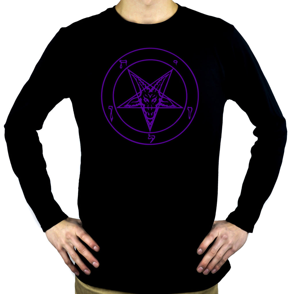 Purple Pentagram Sabbatic Baphomet Long Sleeve Shirt