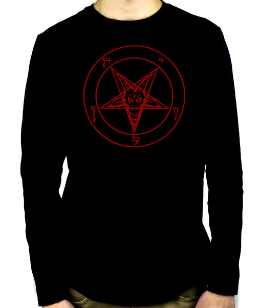 Red Pentagram Sabbatic Baphomet Long Sleeve Shirt