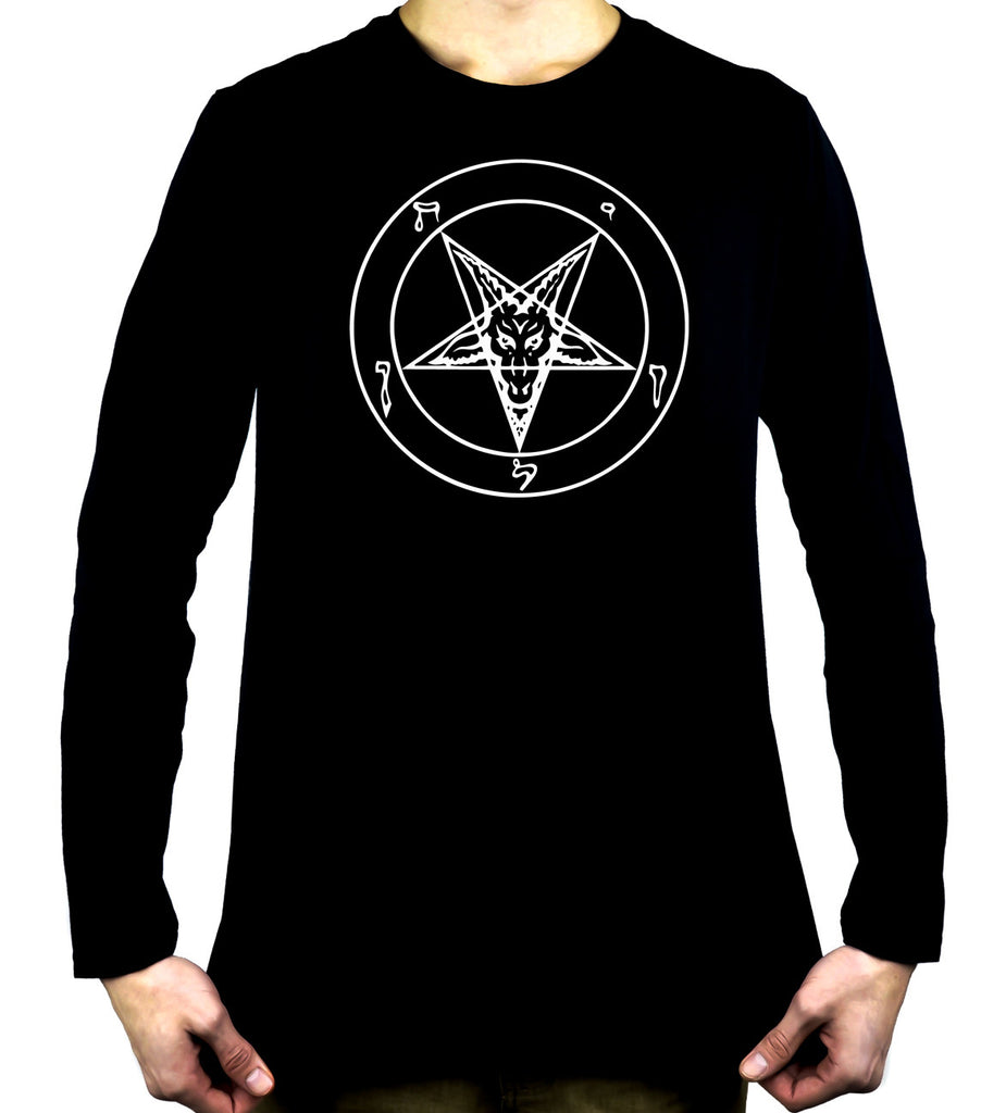 White Pentagram Sabbatic Baphomet Long Sleeve Shirt