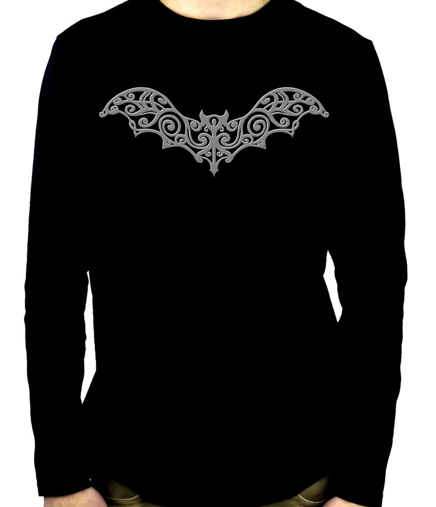 Wrought Iron Grey Bat Long Sleeve Shirt Gothic Clothing