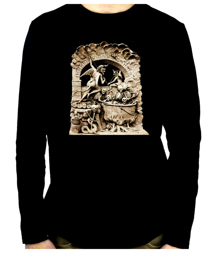 Diableries Devil Hell Scene Men's Long Sleeve T-Shirt Skeletons in Cauldron