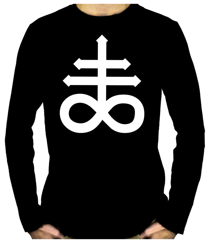 Crux Satanus Leviathan Cross Men's Long Sleeve T-Shirt Occult Clothing Black Sulphur