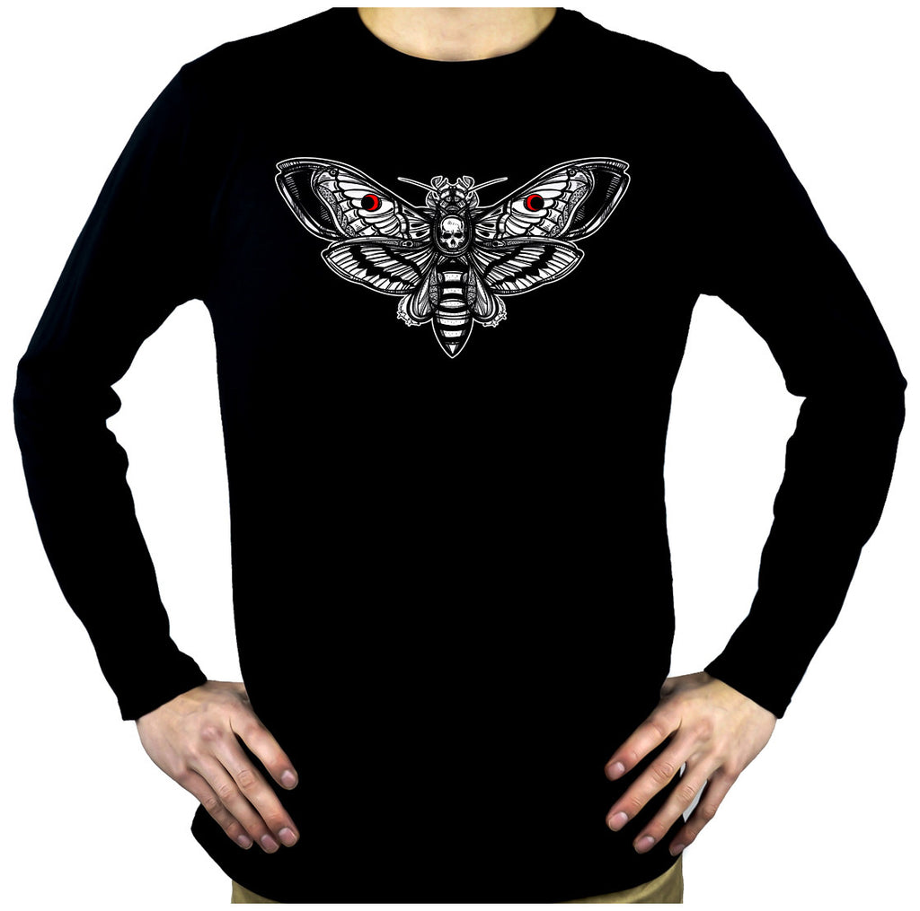 Moth with Death Skull Long Sleeve T-Shirt Gothic Clothing Silence of the Lambs