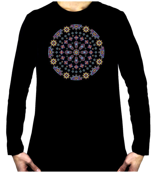 Geometric Gothic Stained Glass Window Long Sleeve T-Shirt Alternative Clothing